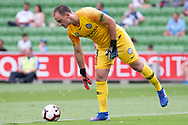 MELBOURNE, VIC - MARCH 03: Melbourne City goalkeeper Eugene Galekovic (18) prepares for a goal kick at the round 21 Hyundai A-League soccer match between Melbourne City FC and Perth Glory on March 03, 2019 at AAMI Park, VIC. (Photo by Speed Media/Icon Sportswire)