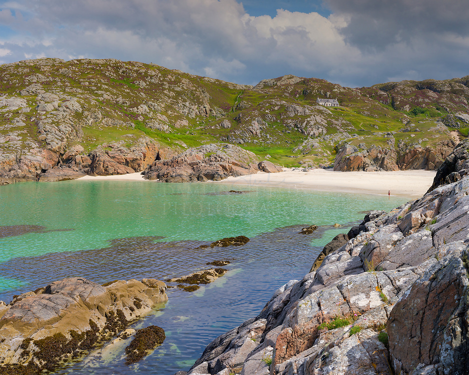 "Achmelvich,(Gaelic: Achadh Mhealbhaich) is a settlement situated in the Highland region of Scotland. The name comes from the Gaelic ""Achadh"" - a plain or meadow and ""mealvaich"" - sandy dunes."