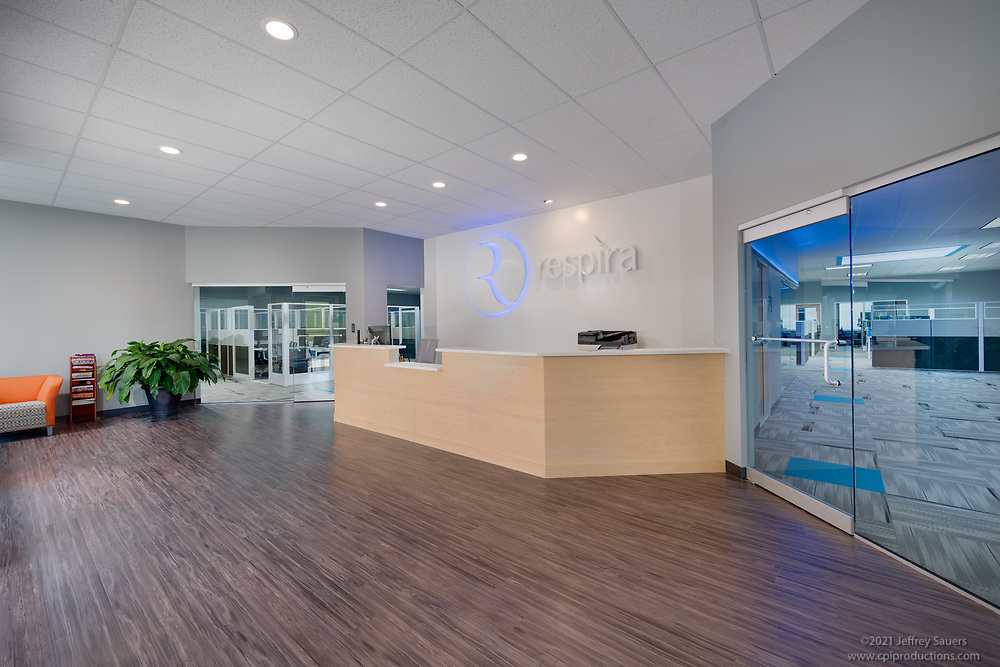 Interior photo of Respira Offices at  BWI Tech Park  2 in Maryland by Jeffrey Sauers of Commercial Photographics, Architectural Photo Artistry in Washington DC, Virginia to Florida and PA to New England