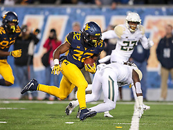 Oct 25, 2018; Morgantown, WV, USA; West Virginia Mountaineers running back Martell Pettaway (32) runs for a touchdown during the second quarter against the Baylor Bears at Mountaineer Field at Milan Puskar Stadium. Mandatory Credit: Ben Queen-USA TODAY Sports