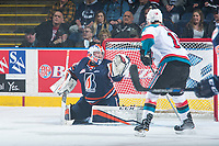 KELOWNA, CANADA - MARCH 25: Connor Ingram #39 of the Kamloops Blazers defends the net against the Kelowna Rockets on March 25, 2017 at Prospera Place in Kelowna, British Columbia, Canada.  (Photo by Marissa Baecker/Shoot the Breeze)  *** Local Caption ***