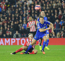 Ipswich Town's Christophe Berra stops an attack from Southampton's Lloyd Isgrove - Photo mandatory by-line: Paul Knight/JMP - Mobile: 07966 386802 - 04/01/2015 - SPORT - Football - Southampton - St Mary's Stadium - Southampton v Ipswich Town - FA Cup Third Round