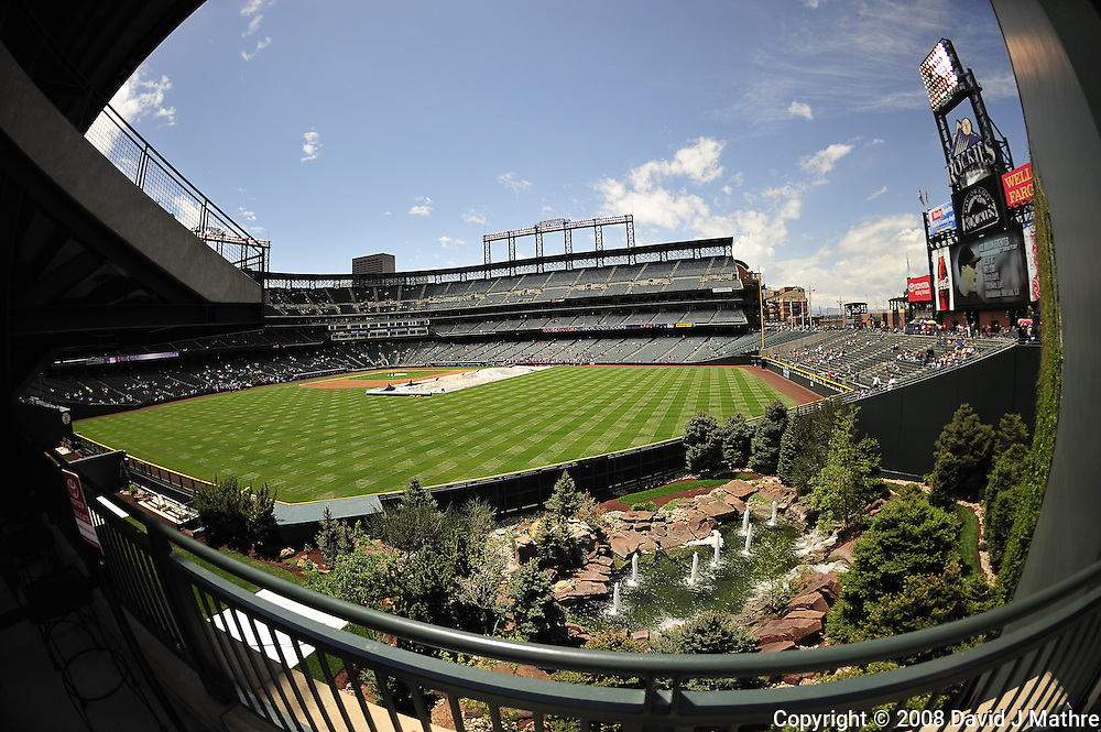 Fisheye view of the Rockies Coors Field in Denver, Colorado. Image taken with a Nikon D3 and 16 mm f/2.8 lens (ISO 200, 16 mm, f/2.8, 1/4000 sec).