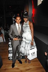 NAOMI CAMPBELL and racing driver LEWIS HAMILTON winner of the sportsman of the year award at the 10th annual GQ Men of the Year Awards held at the Royal Opera House, Covent Garden, London on 4th September 2007.<br />