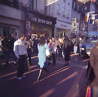Busy day on Grafton Street in Dublin Ireland photograph taken with Holga film camera