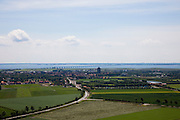 Nederland, Zeeland, Schouwen-Duiveland , 12-06-2009; Zierikzee, overzicht naar de Oosterschelde met op het tweede plan de Zeelandbrug naar Noord-Beveland. In het centrum van de historische stad de Sint-Lievensmonstertoren..Swart Collection, aerial photo (additional fee required); .foto Siebe Swart / photo Siebe Swart