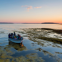 Departing East Gosling Island at sunset in Casco Bay, Harpswell, Maine.