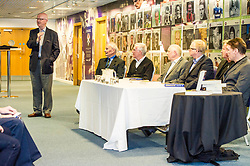 Pictured: Archie MacPherson, journalists Alan Heron and Hugh Keevins, former Scotland manager Craig Brown, current Scotland managher Alex McLeish, ex Scotland player Charlie Nicholas and ex-SFA chief executive Gordon Smith<br /> Veteran commentator Archie MacPherson was at Hampden Park today as he announced the publication of his latest book:  Adventures in the Golden Age - Scotland in the World Cup Finals 1974-1998, due to be published on 26 April  MacPherson was joined by former and  current Scotland manager Craig Brown and Alex McLeish respectivly  along with ex-Celtic, Arsenal and Scotland player Charlie Nicholas who was Archie's co-commentator at the Mexico World Cup. <br /> <br /> Ger Harley | EEm 25 April 2018