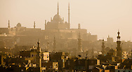 Egypt. Cairo elevated view.  - The citadel and Muhammad Ali Mosque. the old city<br /> view from the minaret of the mosquee madrassa al Zahir BAYBARS, sharia Al Mu'izz LI DIN Allah street    islamic Cairo     NM37