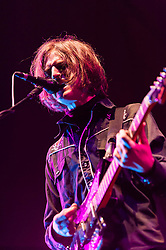 "© Licensed to London News Pictures. 02/05/2013. London, UK.   Tom Dougall of Toy performing live at The O2 Arena, supporting headliner The Vaccines.   TOY are an English indie rock/psychedelic rock band from London.  The band was formed in 2010 in London by singer/guitarist Tom Dougall (younger brother of Rose Elinor Dougall of The Pipettes), Dominic O'Dair (guitar), Maxim ""Panda"" Barron (bass), Charlie Salvidge (drums), and Spanish keyboard player Alejandra Diez.  Photo credit : Richard Isaac/LNP"