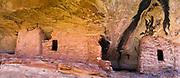Panoramic image of the abandoned Anasazi ruins in Lower Mule Canyon, Comb Ridge, San Juan County, Utah, USA.
