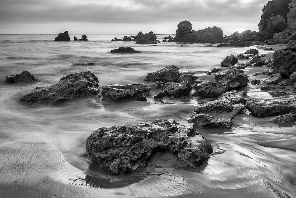 Receding Tide Corona Del Mar Tide Pools - Sunset - Black & White