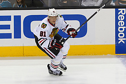 Feb 10, 2012; San Jose, CA, USA; Chicago Blackhawks right wing Marian Hossa (81) warms up before the game against the San Jose Sharks at HP Pavilion. San Jose defeated Chicago 5-3. Mandatory Credit: Jason O. Watson-US PRESSWIRE