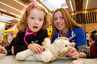 24/02/2013. Abbi Kennedy with Kitty and Jacqui Hartigan from Ennis Co. Clare 2nd year med student at the Teddybear Hospital a training day for students and Get to know your the hospital for Children and Teddys. Picture:Andrew Downes