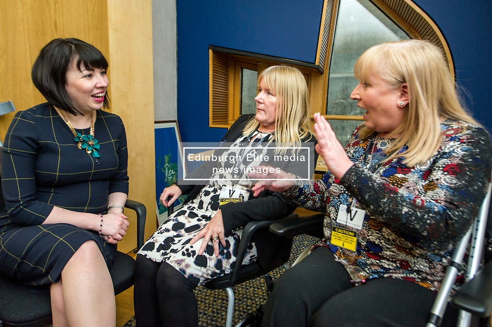Pictured: Petitioners Olive McIlroy and Elaine Holmes discuss the health problems associated with the use of the mesh with Monica Lennon, MSP.<br /> Thousands of Scottish women have been fitted with polypropylene transvaginal mesh to treat pelvic organ prolapse or stress urinary incontinence. As a result women in every Scottish constituency have been severely injured or permanently disabled following this procedure, some have lost organs, many their careers and their relationships.  The women and their families  are asking MSPs to sign a pledge <br /> <br /> Ger Harley | EEm 16 March 2017
