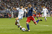 CHICAGO, IL - AUGUST 02: MLS All-Star and Chicago Fire Forward Nemanja Nikolic (22) prepares to shoot on goal as Real Madrid defender Jesus Vallejo (3) defends in the second half during a soccer match between the MLS All-Stars and Real Madrid on August 02, 2017, at Soldier Field in Chicago, IL. The game ended in a 1-1 tie with Real Madrid winning on penalty kicks 4-2. (Photo By Daniel Bartel/Icon Sportswire)