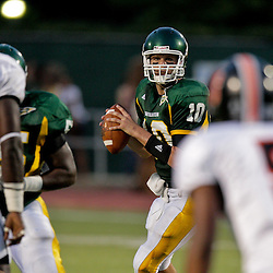 10 September 2009:  Southeastern Louisiana Lions quarterback Brian Babin (10) looks to pass during a game between Southeastern Louisiana University Lions and Union College at Strawberry Stadium in Hammond, Louisiana.