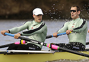 Putney, London, ENGLAND, 28.03.2006, 2006, Boat Race, Cambridges GB Internationals Tom James [left] and Kieran West, during Cambridges, mid day training outing on the River Thames during the 2006 Varsity, Tideway Week, Tuesday,  © Peter Spurrier/Intersport-images.com.[Mandatory Credit Peter Spurrier/ Intersport Images] Varsity, Boat race. Rowing Course: River Thames, Championship course, Putney to Mortlake 4.25 Miles