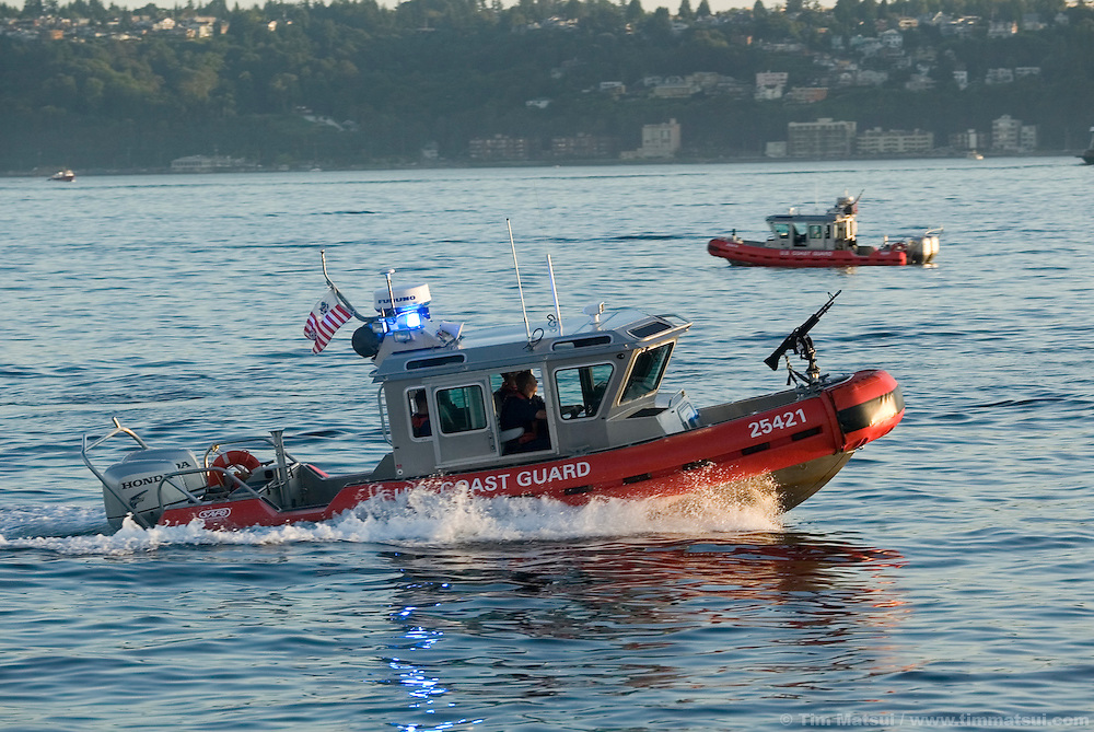 US Coast Guard patrol boats in Elliott Bay, Seattle, Washington, on July 17, 2004.