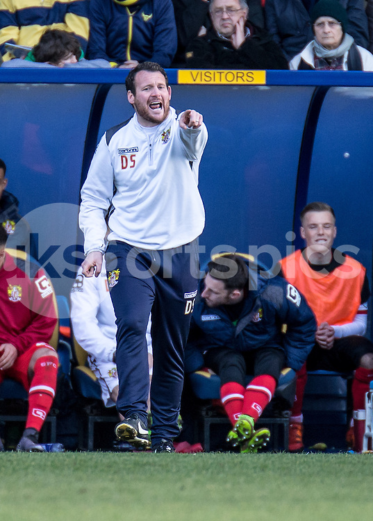 Stevenage Caretaker Manager Darren Sarll during the Sky Bet League 2 match between Oxford United and Stevenage at the Kassam Stadium, Oxford, England on the 25th March 2016. Photo by Liam McAvoy.