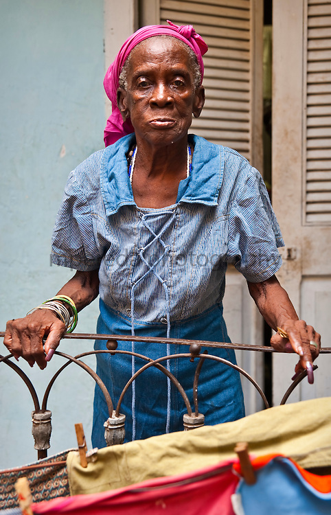 CUBA (La Habana). 2009. Old woman in her house of La Habana. The cuban sanitary system has allowed that Cuba should have one of the highest life expectancies of Latin America.