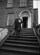 Garret Fitzgerald Birthday.1982.09.02.1982..02.09.1982..9th February 1982.Garret Fitzgerald celebrates his 56th birthday..Photo taken as .Garret Fitzgerald returns to the campaign trail after taking time from campaigning to celebrate his birthday with his wife Joan and his son Mark in their Palmerstown home.