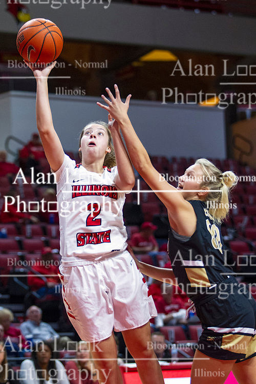 NORMAL, IL - October 30: Maya Wong defended by Sydney Flood during a college women's basketball game between the ISU Redbirds and the Lions on October 30 2019 at Redbird Arena in Normal, IL. (Photo by Alan Look)