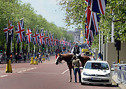 © Licensed to London News Pictures. 30/05/2012. London, UK A man is stopped by a police officer on horse back after parking his car on The Mall. A view along the Mall towards Buckingham Palace. Preparations today 20th May 2012 around London ahead of The Queen's Diamond Jubilee this weekend. Photo credit : Stephen Simpson/LNP