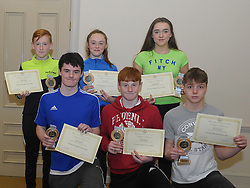 Westport Athletics Awards 2018<br /> National Medal Winners,<br />Front Adam , Harry Sheridan and Conn McNamara,<br />Standing David Marrey, Sarah Mulroy and Maggie Chambers.<br />Pic Conor McKeown<br /> <br /> Pic Conor McKeown