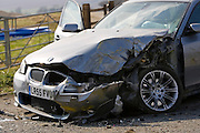 BMW car after a crash, Oxfordshire, England, United Kingdom