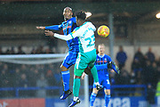 Calvin Andrew wins the ball from Ashley Smith-Brown during the EFL Sky Bet League 1 match between Rochdale and Plymouth Argyle at Spotland, Rochdale, England on 15 December 2018.