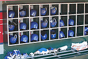 ANAHEIM, CA - MAY 06:  Toronto Blue Jays batting helmets fill bins and gloves line the dugout during the game against the Los Angeles Angels of Anaheim on Sunday, May 6, 2012 at Angel Stadium in Anaheim, California. The Angels won the game 4-3. (Photo by Paul Spinelli/MLB Photos via Getty Images)
