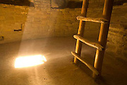 Spruce Tree House Kiva, light beam, ladder
