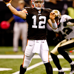 Oct 24, 2010; New Orleans, LA, USA; Cleveland Browns quarterback Colt McCoy (12) throws a pass against the New Orleans Saints during the first half at the Louisiana Superdome. Mandatory Credit: Derick E. Hingle