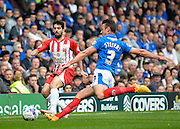 Enda Stevens and Piero Mingoia during the Sky Bet League 2 match between Portsmouth and Accrington Stanley at Fratton Park, Portsmouth, England on 5 September 2015. Photo by Adam Rivers.