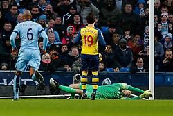 Santi Cazorla of Arsenal beats Joe Hart of Manchester City from the penalty spot to score a goal  and make it 0-1 - Photo mandatory by-line: Rogan Thomson/JMP - 07966 386802 - 18/01/2015 - SPORT - FOOTBALL - Manchester, England - Etihad Stadium - Manchester City v Arsenal - Barclays Premier League.