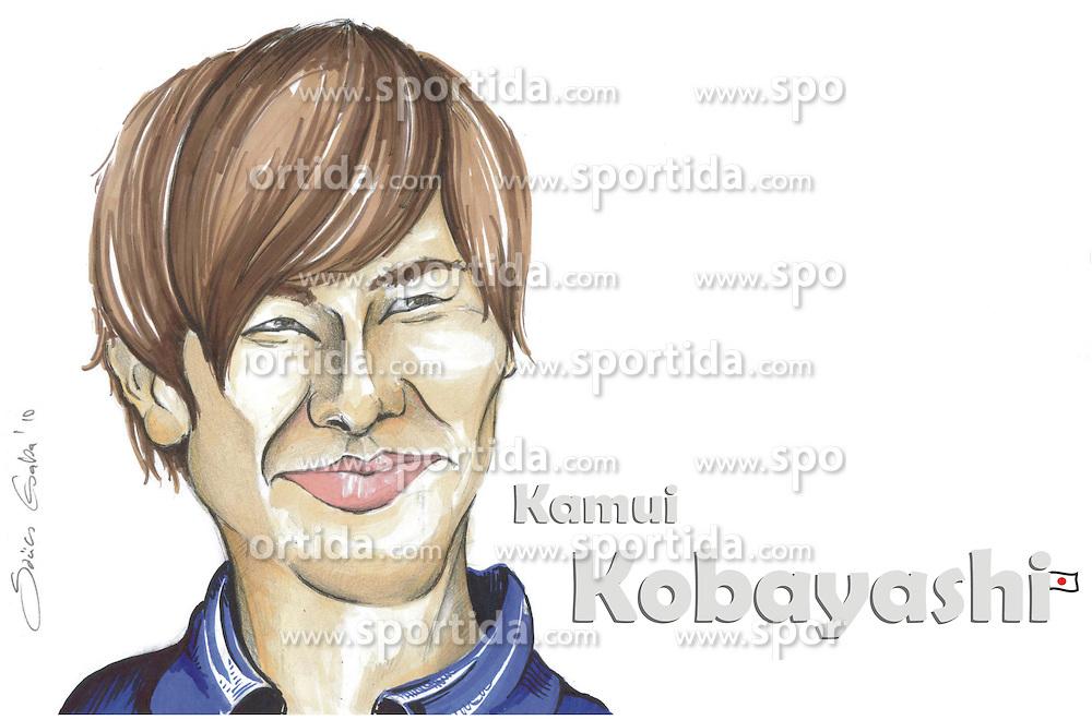 FORMEL 1: Saison 2010, Karrikatur von<br /> Kamui KOBAYASHI (JPN, Sauber)<br /> &Atilde;'&Acirc;&copy; pixathlon