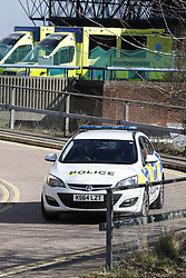 © Licensed to London News Pictures. 06/03/2018. Salisbury, UK. The scene at Salisbury District hospital where former Russian spy Sergei Skripal and his daughter were taken after becoming ill with suspected poisoning. The couple where found unconscious on bench in Salisbury shopping centre. Specialist units have been called in to deal with any possible contamination. Photo credit: Peter Macdiarmid/LNP