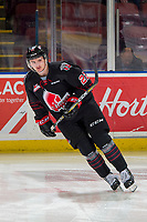 KELOWNA, BC - JANUARY 16:  Kaeden Taphorn #22 of the Moose Jaw Warriors warms up against the Kelowna Rockets at Prospera Place on January 16, 2019 in Kelowna, Canada. (Photo by Marissa Baecker/Getty Images)
