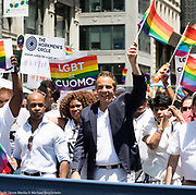 New York Governor Andrew Cuomo at the Pride March in New York City, New York on June 25, 2017.
