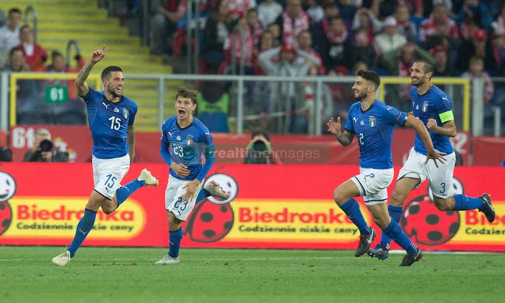 October 14, 2018 - Chorzow, Poland - Cristiano Biraghi from Italy celebrates with team mates after scoring during the UEFA Nations League A group three match between Poland and Italy at Silesian Stadium on October 14, 2018 in Chorzow, Poland. (Credit Image: © Foto Olimpik/NurPhoto via ZUMA Press)