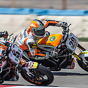 August 4, 2013 - Tooele, UT - Steve Rapp passes Tyler O'Hara on the inside to take the lead in the Harley-Davidson XR1200 Race at Miller Motorsports Park. Rapp won the race with O'Hara finishing in the second position.