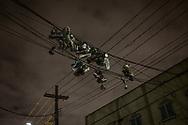 Sneakers dangling from powerlines.  Bushwick, Brooklyn, New York, USA