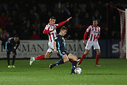 Kevin Dawson and Jordan Rossiter   during the EFL Sky Bet League 2 match between Cheltenham Town and Bury at LCI Rail Stadium, Cheltenham, England on 5 March 2019.