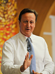 Leader of the Conservative Party David Cameron on stage during a  Cameron Direct in Kingsmead Primary School, Northwich, on the last day of his 3 day tour of Yorkshire and the North West England, Thursday, August 20, 2009. Photo By Andrew Parsons / i-Images.