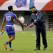 Head Coach, Sir Gordon Tiejtens, shared his appreciation for each and every Samoan player after Manu Samoa defeated Wales 28-10 at the Canada 7's, Day 1, BC Place, Vancouver, British Columbia, Canada.  Photo by Barry Markowitz, 3/10/18, 6:40 pm
