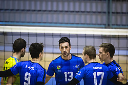 Players of Šoštanj Topolšica rejoicing after winning a point during volleyball match between Panvita Pomgrad and Šoštanj Topolšica of 1. DOL Slovenian National Championship 2019/20, on December 14, 2019 in Osnovna šola I, Murska Sobota, Slovenia. Photo by Blaž Weindorfer / Sportida