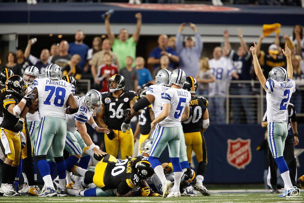 Dallas Cowboys kicker Dan Bailey (5) kicks the game winning field goal against the Pittsburgh Steelers in overtime, 27-24, at Cowboys Stadium in Arlington, Texas, on December 16, 2012.  (Stan Olszewski/The Dallas Morning News)