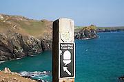 South West coast path waymark sign near, Kynance Cove, Lizard peninsula, Cornwall, England, UK