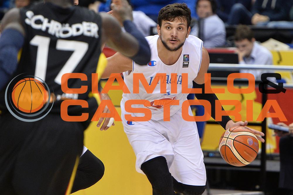 DESCRIZIONE : Berlino Berlin Eurobasket 2015 Group B Italy Germany <br /> GIOCATORE :  Alessandro Gentile<br /> CATEGORIA : Palleggio<br /> SQUADRA :Italy<br /> EVENTO : Eurobasket 2015 Group B <br /> GARA : Italy Germany <br /> DATA : 09/09/2015 <br /> SPORT : Pallacanestro <br /> AUTORE : Agenzia Ciamillo-Castoria/I.Mancini <br /> Galleria : Eurobasket 2015 <br /> Fotonotizia : Berlino Berlin Eurobasket 2015 Group B Italy Germany